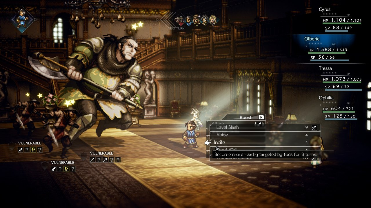 Battle in Octopath Traveler